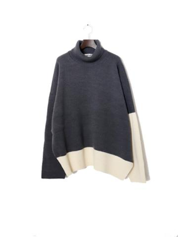 High neck by color knit (GRY)