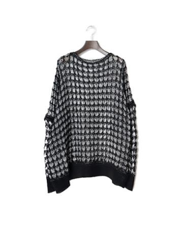 Mesh over knit (BLK×WHT)